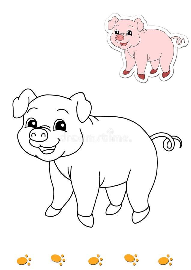 Livro de coloração dos animais 5 - porco ilustração stock