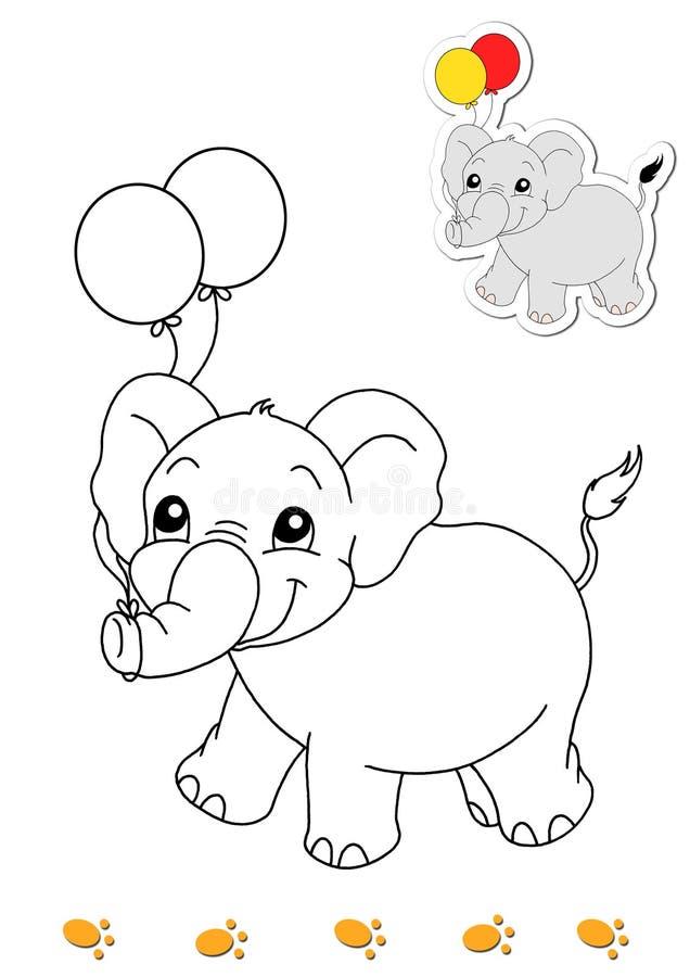 Livro de coloração dos animais 8 - elefante ilustração royalty free