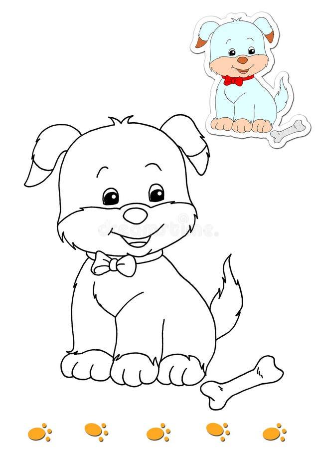 Livro de coloração dos animais 9 - cão ilustração do vetor