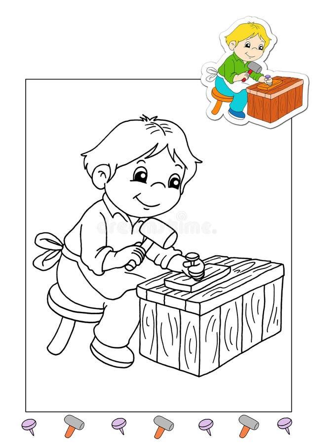 Livro de coloração dos trabalhos 11 - carpinteiro ilustração stock