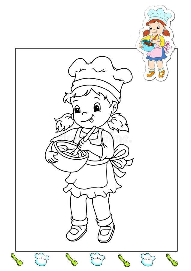 Livro de coloração dos trabalhos 13 - cozinheiro ilustração royalty free