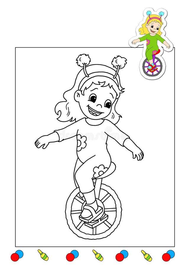 Livro de coloração dos trabalhos 19 - acrobata ilustração stock