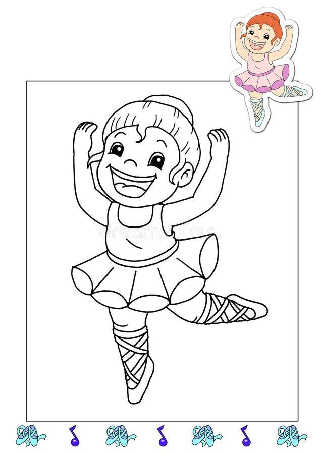 Livro de coloração dos trabalhos 2 - dançarino ilustração stock