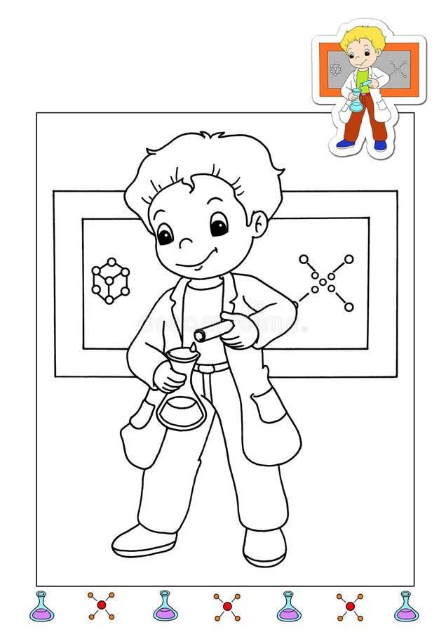 Livro de coloração dos trabalhos 20 - produto químico ilustração stock