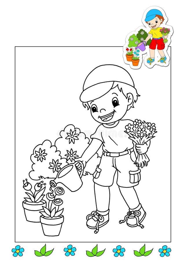 Livro de coloração dos trabalhos 21 - jardineiro ilustração stock