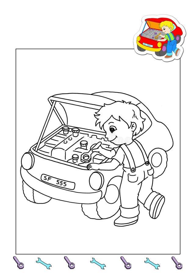 Livro de coloração dos trabalhos 22 - mecânico ilustração do vetor