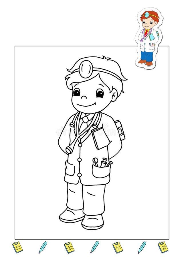 Livro de coloração dos trabalhos 23 - doutor ilustração do vetor