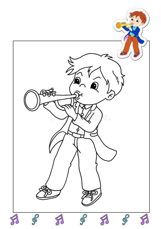 Livro de coloração dos trabalhos 25 - músico ilustração do vetor
