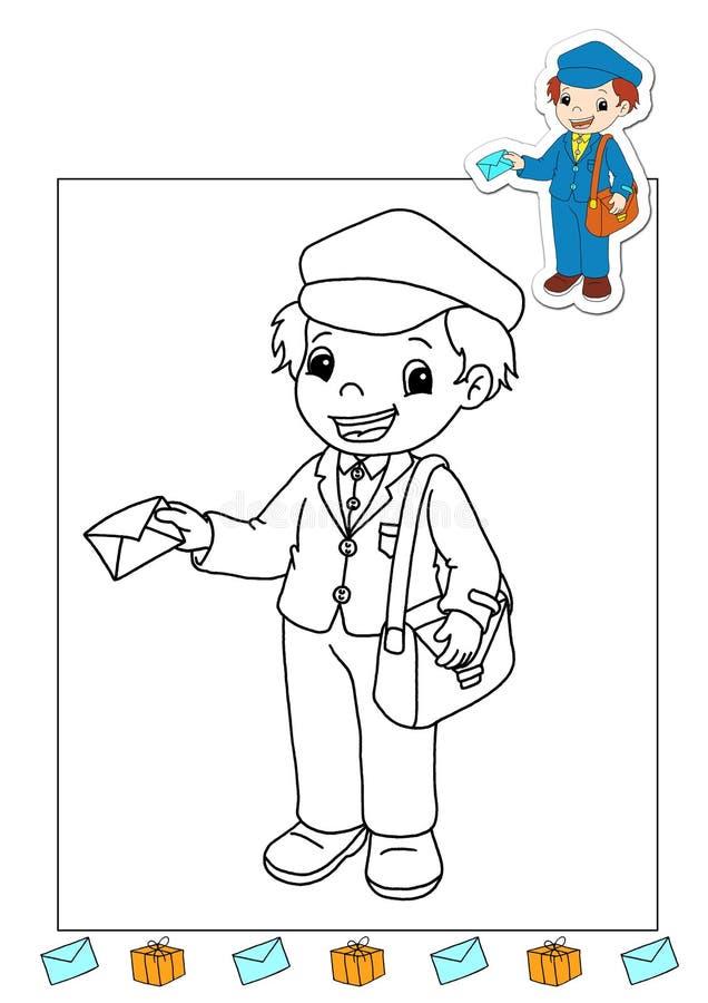 Livro de coloração dos trabalhos 26 - portador de correio ilustração royalty free