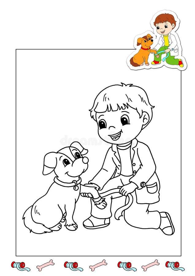 Livro de coloração dos trabalhos 27 - veterinário ilustração do vetor