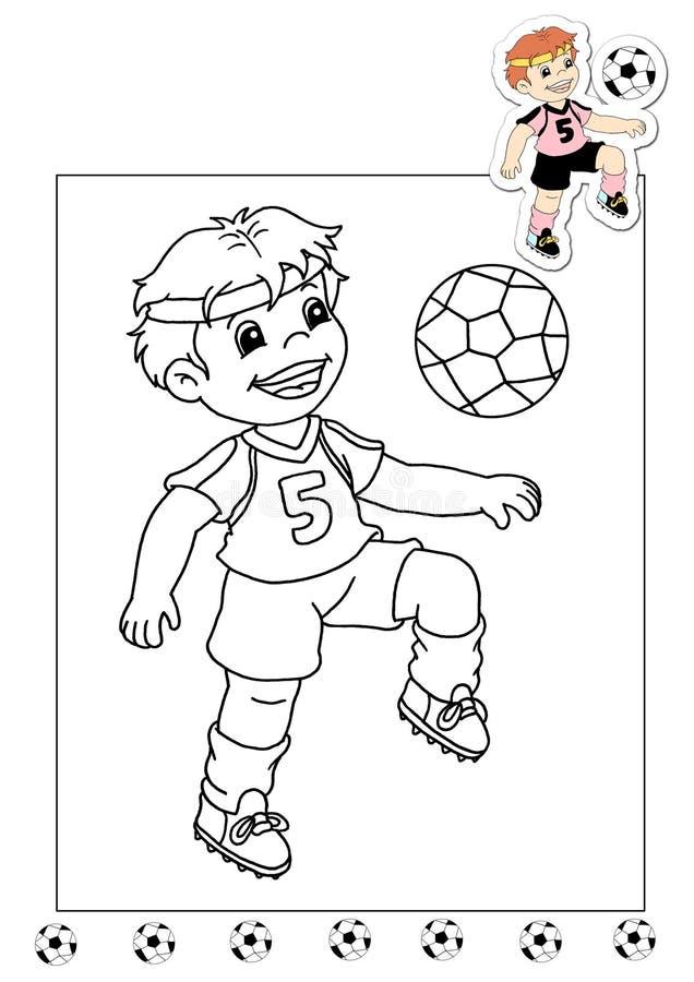 Livro de coloração dos trabalhos 29 - jogador de futebol ilustração royalty free