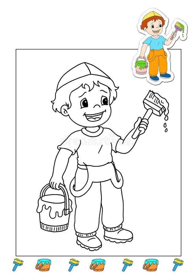 Livro de coloração dos trabalhos 3 - descorantes ilustração stock
