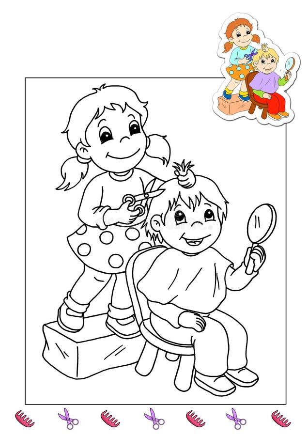 Livro de coloração dos trabalhos 31 - cabeleireiro ilustração stock