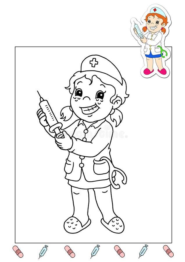Livro de coloração dos trabalhos 32 - enfermeira ilustração stock