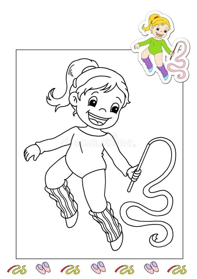 Livro de coloração dos trabalhos 4 - gymnast ilustração do vetor