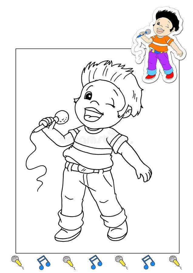 Livro de coloração dos trabalhos 5 - cantor ilustração stock