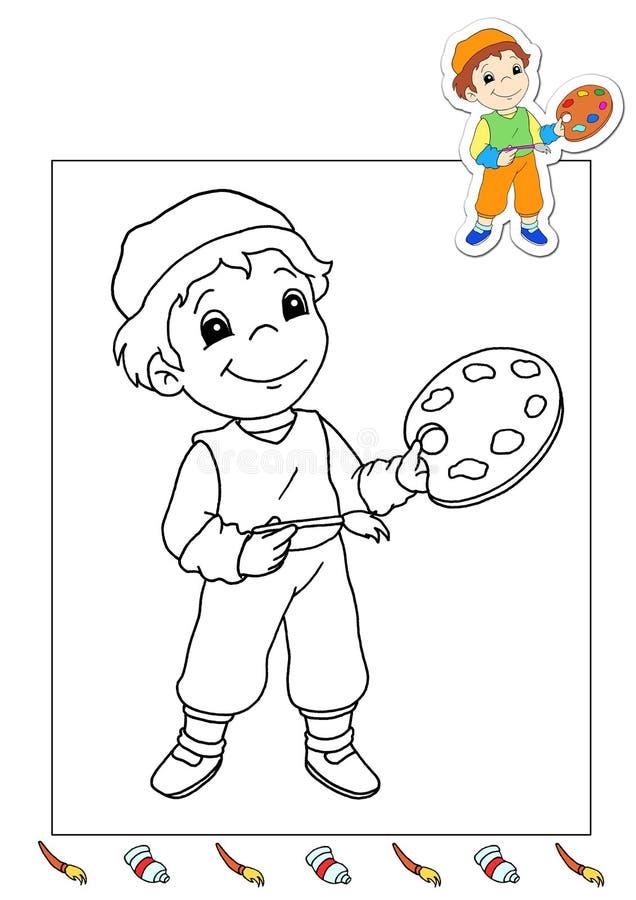 Livro de coloração dos trabalhos 6 - pintor ilustração stock