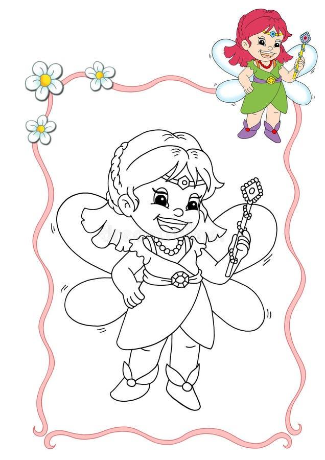 Livro de coloração - fairy 1 ilustração stock