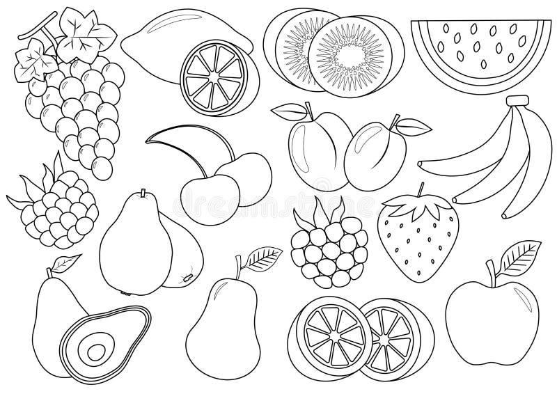 Livro de coloração Frutos e desenhos animados das bagas Ícones Vetor ilustração stock