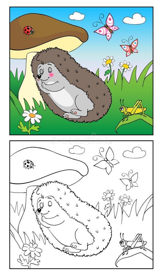 Livro de coloração Ilustração do ouriço e dos insetos para crianças ilustração do vetor
