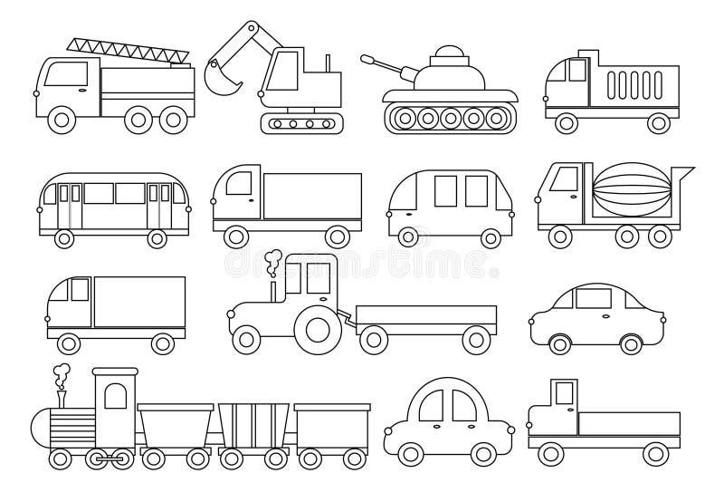 Livro de coloração Jogo do transporte Carro, ônibus, trem, carro de bombeiros, misturador concreto, caminhão basculante, caminhão ilustração royalty free