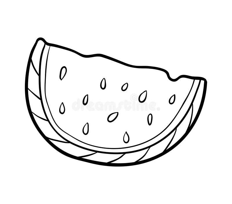 Livro de coloração, melancia ilustração do vetor