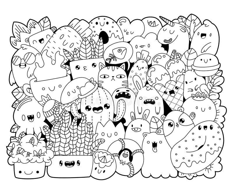 Livro de coloração monstro e alimento ilustração stock