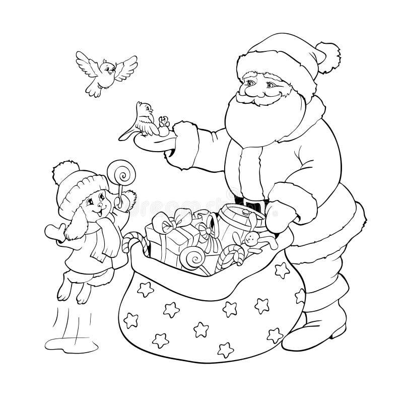 Livro de coloração Santa Claus, coelho e pássaros com presentes do Natal ilustração do vetor