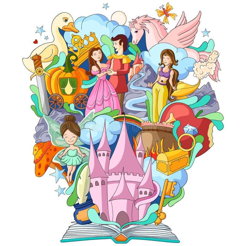 Livro de conhecimento para a história da fantasia ilustração stock