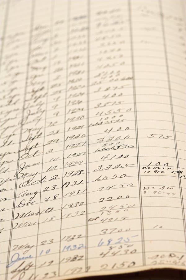 Livro- de contabilidade velho imagens de stock