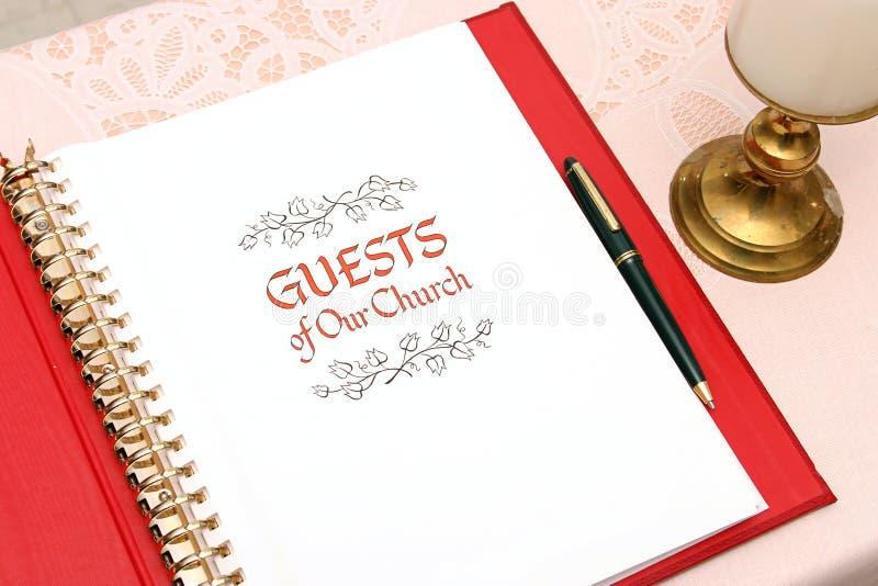 Livro de convidado 1 da igreja fotos de stock royalty free