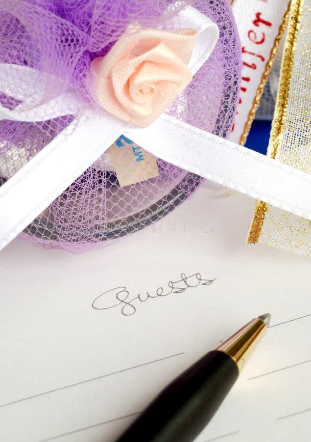 Livro de convidado do casamento fotos de stock royalty free
