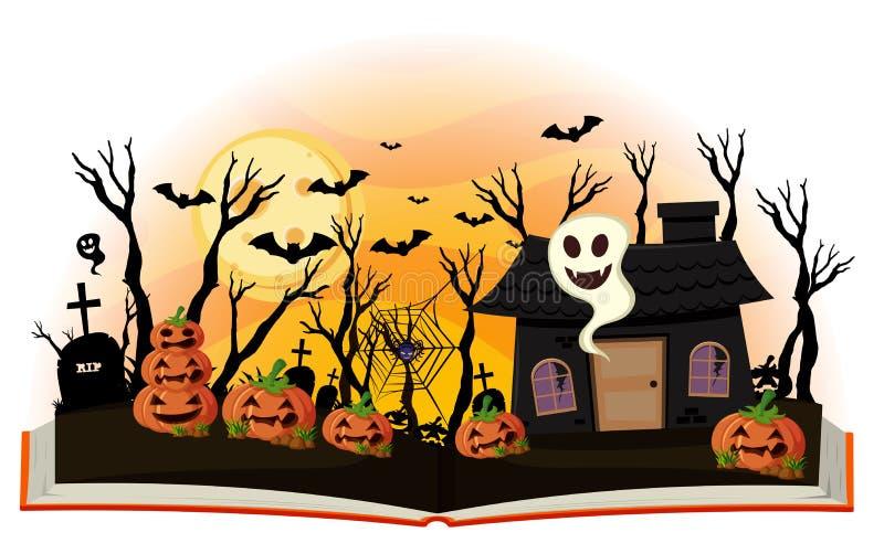 Livro de Dia das Bruxas com jaque-o-lanterna e a casa assombrada ilustração stock