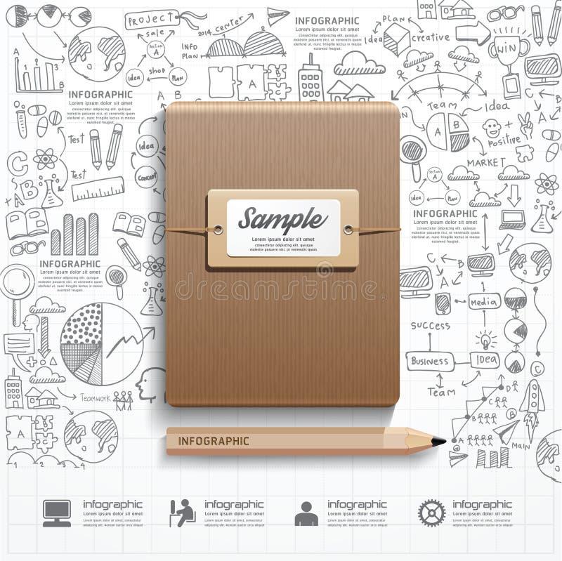 Livro de Infographic com a lápis estratégia das garatujas do sucesso do desenho ilustração stock
