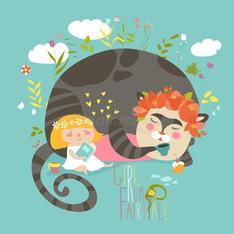 Livro de leitura bonito da menina para o gato mágico ilustração royalty free
