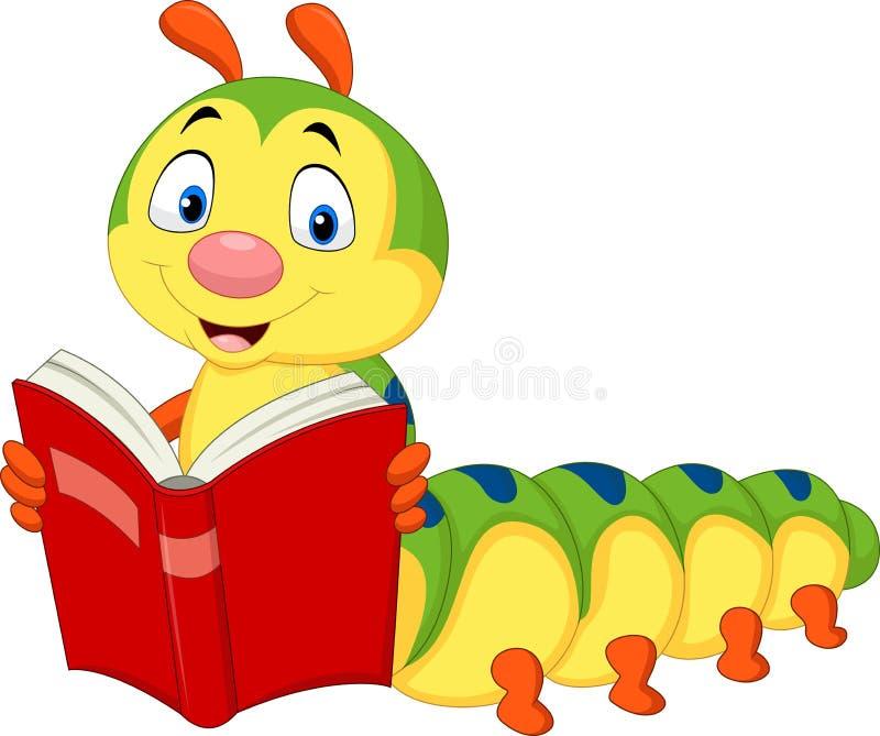 Livro de leitura da lagarta dos desenhos animados ilustração stock