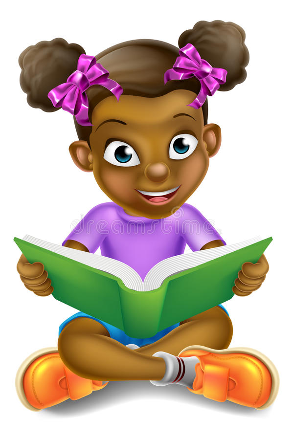 Livro de leitura da menina dos desenhos animados ilustração stock