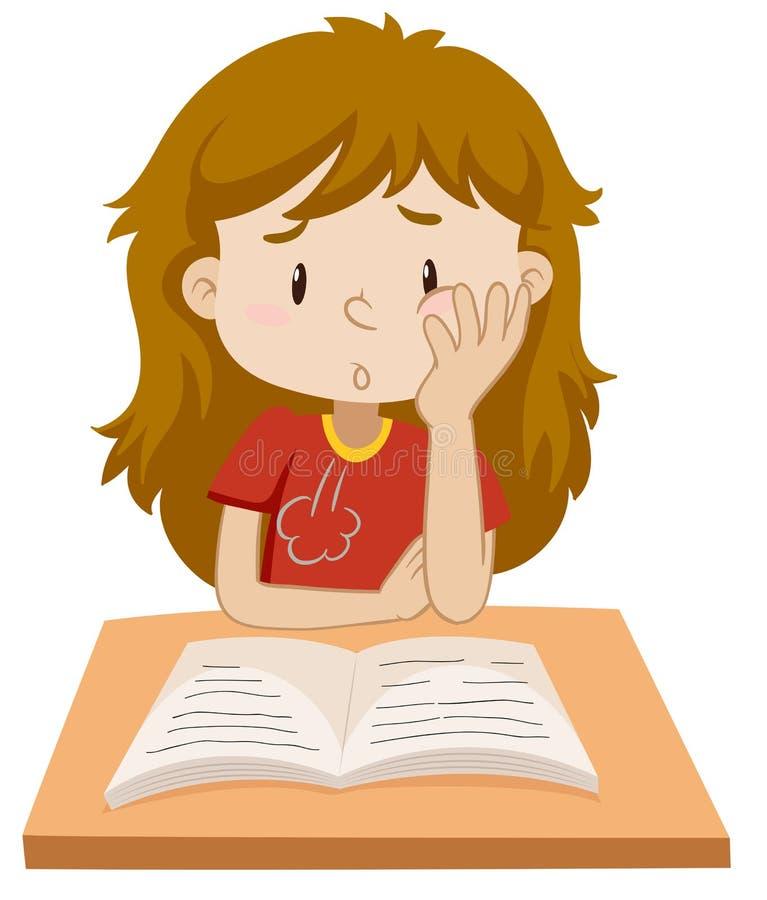 Livro de leitura da menina na tabela ilustração stock