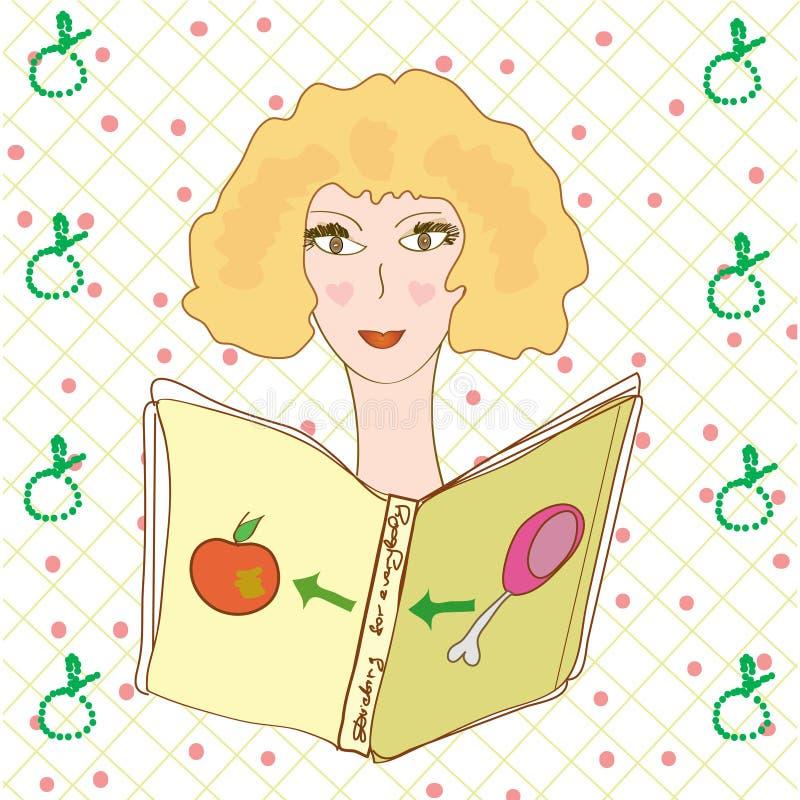 Livro de leitura da menina sobre a dieta ilustração royalty free