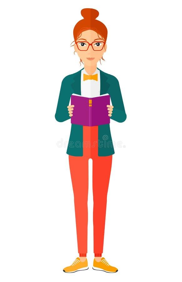 Livro de leitura da mulher ilustração royalty free