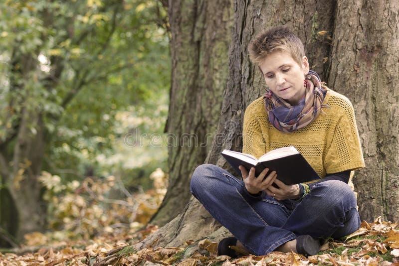 Livro de leitura da mulher no parque fotos de stock royalty free