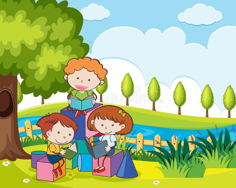 Livro de leitura das crianças no jardim ilustração royalty free