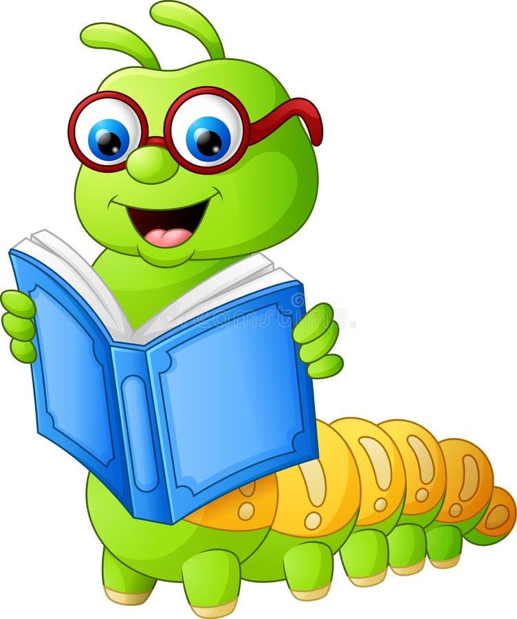 Livro de leitura de Caterpillar ilustração stock