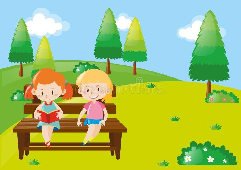 Livro de leitura de duas meninas no parque ilustração do vetor