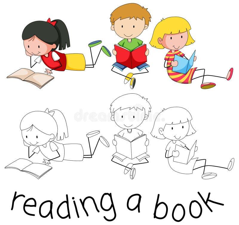 Livro de leitura do caráter do estudante ilustração do vetor
