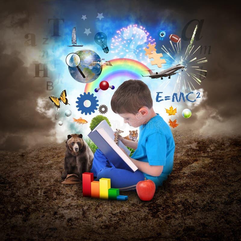 Livro de leitura do menino com objetos da educação ilustração stock