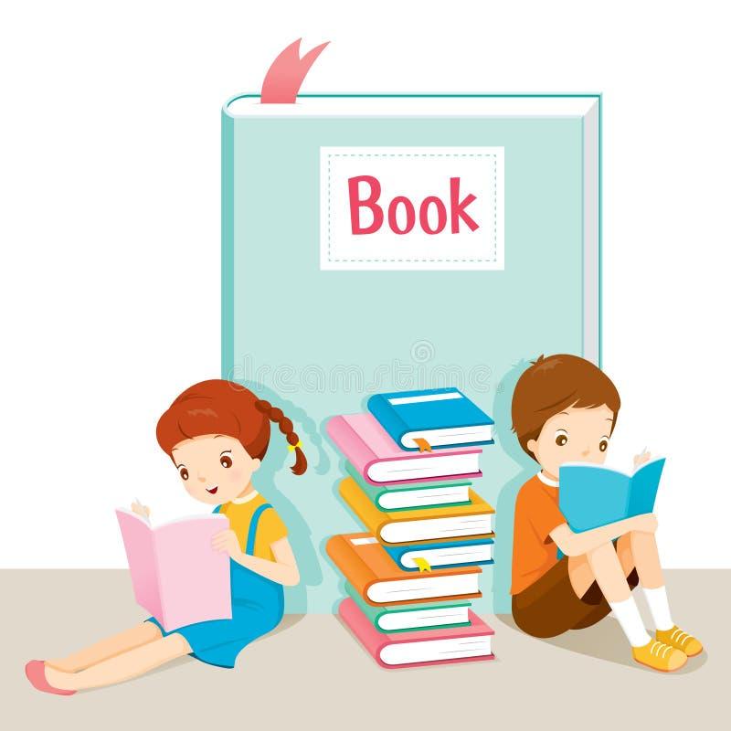 Livro de leitura do menino e da menina ilustração stock