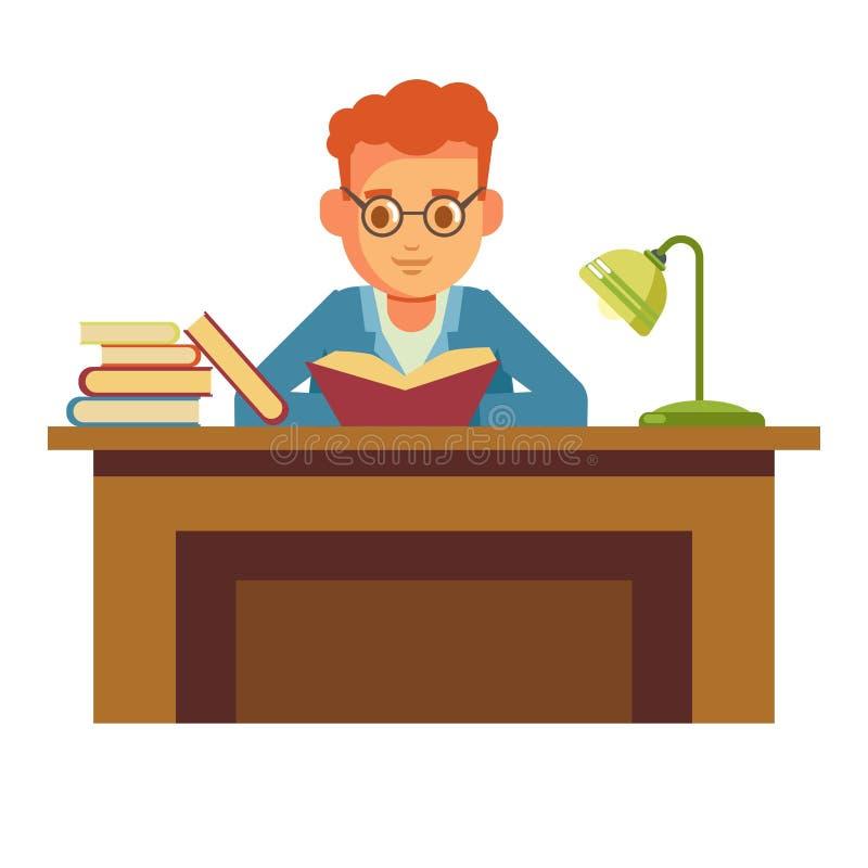 Livro de leitura do menino do estudante na biblioteca que senta-se na tabela no ícone liso do vetor da livraria ilustração do vetor