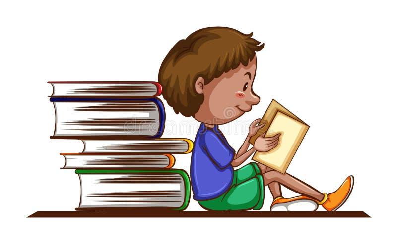 Livro de leitura do menino no fundo branco ilustração stock