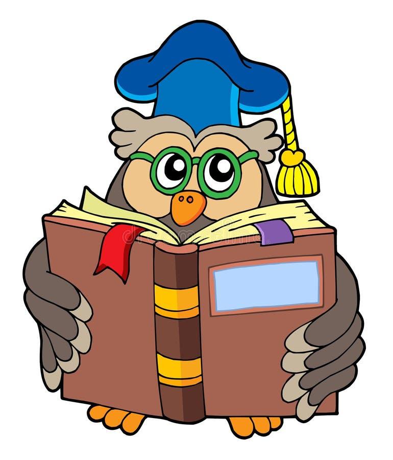 Livro de leitura do professor da coruja ilustração stock